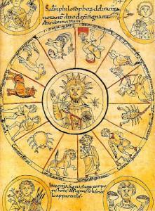 Cristo representado en el centro de la rueda del zodiaco (Manuscrito del siglo IX. Biblioteca Nacional de Francia)