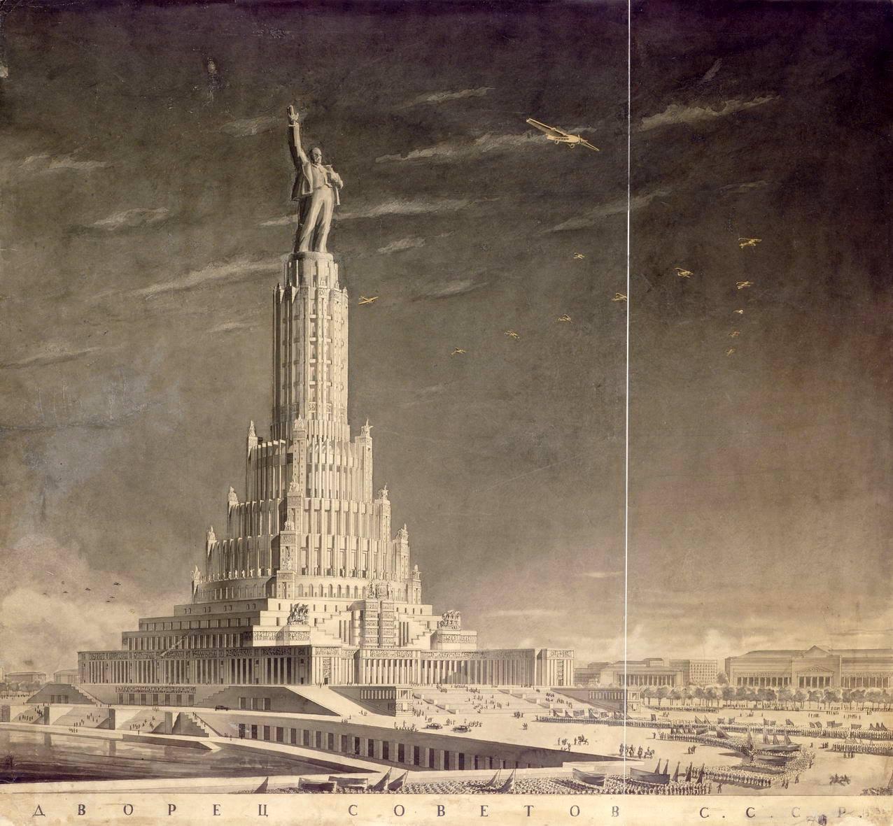 Boceto de Iofán para el Palacio de los Soviets