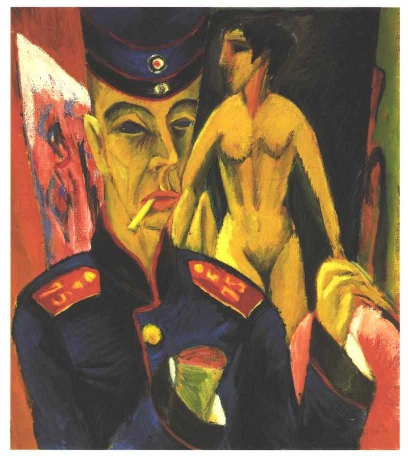 Autoretrato como soldado, Erns Ludwig Kirchner